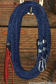 derby rope, split reins, snaps