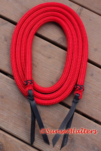 yacht braid, roping reins, tassel, spliced, weighted end, training, natural horsemanship training, slobber straps, loop reins